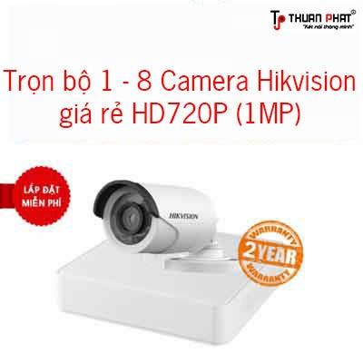 Trọn bộ 1-8 Camera Hikvision HD720P giá rẻ lắp cho gia đình
