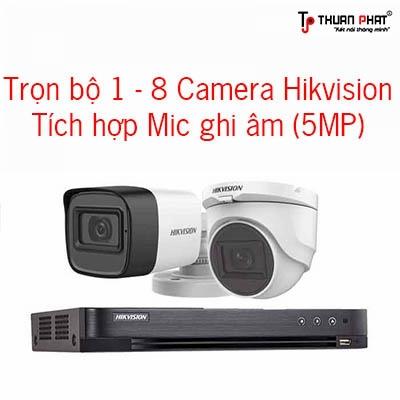 Trọn bộ 1-8 Camera Hikvision Cao cấp Tích hợp Mic: 5MPX